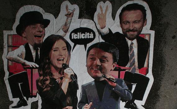 """Renzi e Boschi come  Albano e Romina a """"The Voice"""", nella notte spunta graffito a Roma"""