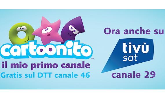 Da oggi Cartoonito sbarca sul satellite al canale 29 di Tivùsat
