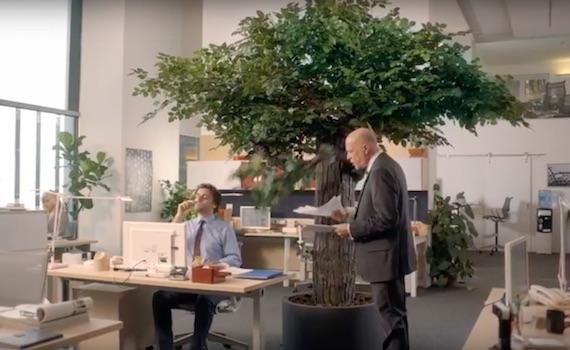 Spot tv: Maalox e l'albero vivente in ufficio. Troppo fumettoso