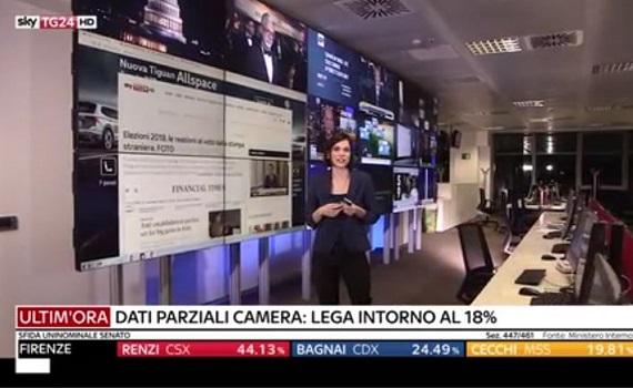 Ascolti Tv 4 marzo digital e pay: Sky Tg24 al 2,2% con lo spoglio. Pre Oscar all'1,6% su Tv8
