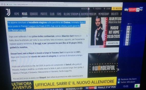 Sarri alla Juve: il sito del Chelsea ufficializza, poi SkySport24 e il sito della Juve