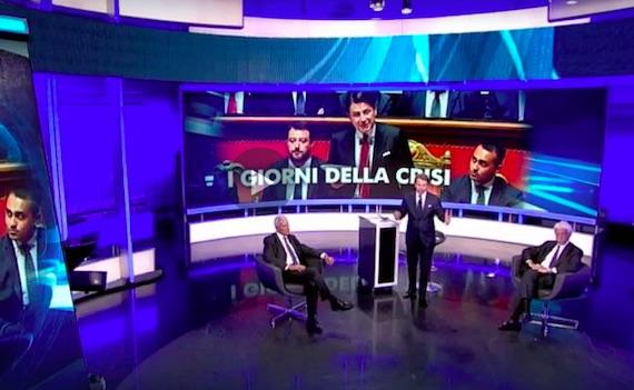 Ascolti Tv 28 agosto: nelle maratone sulla crisi Tg1 davanti a TgLa7. Tg4 inesistente