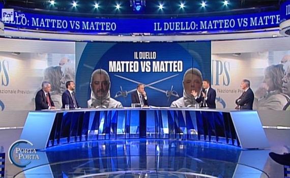 Ascolti tv analisi 15 ottobre: Vespa boom fino al 34% con Salvini e Renzi. Iene al top con Golia e Roma