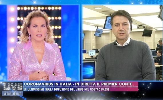 Ascolti tv analisi 23 febbraio: Effetto Covid, Ranieri non sfonda, D'Urso (Conte e Morgan) e Fazio (Conte e Burioni) vicini, ok Giletti