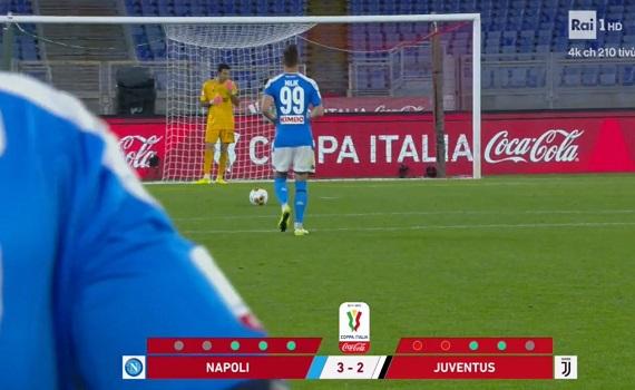Ascolti tv analisi 17 giugno: Napoli-Juve ai rigori fa il 64,7% in Campania ed il 51,3% in Piemonte. Share al top sulla trasformazione di Milik