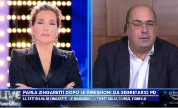 Nicola Zingaretti chiude la carriera da leader dalla D'Urso